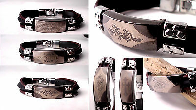 £5.99 • Buy Mens Leather Bracelet Cuff Wrap Surfer Black Brown Stainless Steel Tribal Rubber