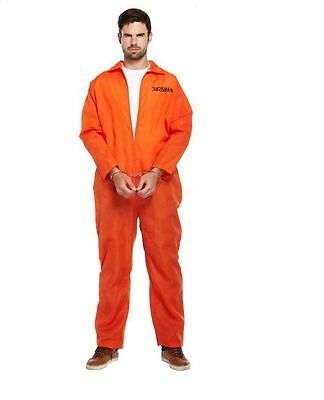 New Prisoner Orange Jumpsuit Convict Prison Halloween Fancy Dress Costume! • 8.99£