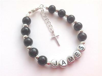 Boys Personalised Name Bracelet Page Boy/christening/first Holy Communion Gift • 3.99£