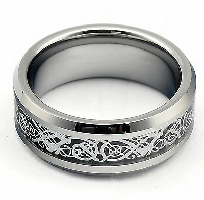 $13.88 • Buy Mens Ring Celtic Wedding Band Engagement Anniversary Silver Tungsten Carbide New