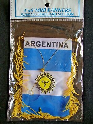 NEW Argentina Flag Mini Banner 4  X 6  W/ Suction Cup Car Window White Blue Sun • 5.33£