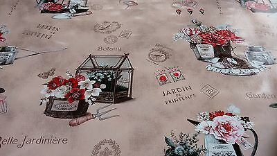 French Garden Taupe Vinyl Wipe Clean Pvc Tablecloth • 12.60£