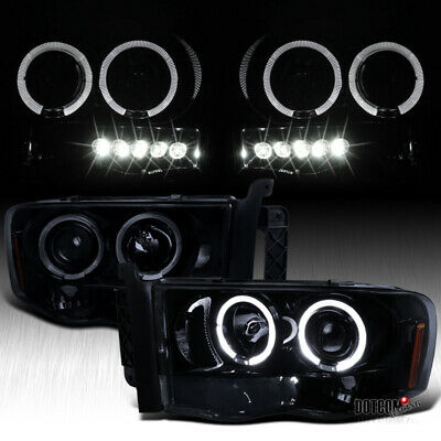 $120.64 • Buy Black Smoke Fit 2002-2005 Dodge RAM Halo Projector Headlights LED Bar Left+Right