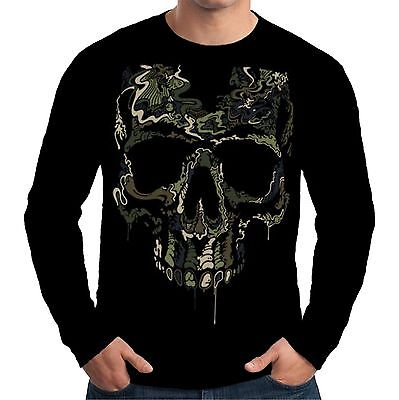 £12.25 • Buy Velocitee Mens Long Sleeve T-Shirt Military Skull Special Ops Biker Army A15048