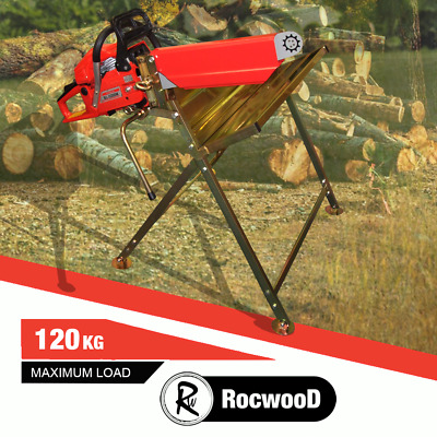 Log Saw Horse Holder RocwooD Folding Metal With Pivoting Chainsaw Clamp • 46.99£