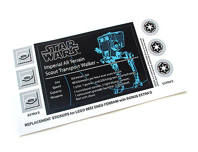 £3.41 • Buy CUSTOM STICKERS For STAR WARS UCS Lego 10174 IMPERIAL AT-ST, MODEL DISPLAYS, Etc