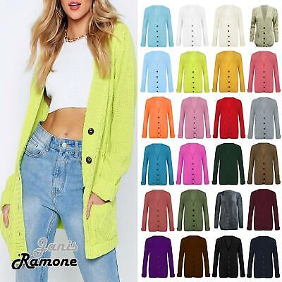 £10.99 • Buy New Womens Chunky Cable Knitted ButtonUp Long Sleeve Grandad Cardigan Jumper Top