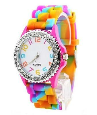 £4.99 • Buy Classic Rainbow Rubber Jelly Silicone Crystal Wrist Watch Men Women Xmas Gift