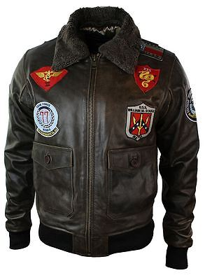 £139.99 • Buy Mens Real Leather US Aviator Air Force Pilot Flying Bomber Jacket Brown Fur Coll