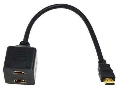 £4.99 • Buy Gold Plated HDMI Male To Dual HDMI Twin Female Y Splitter Cable Adapter For HDTV