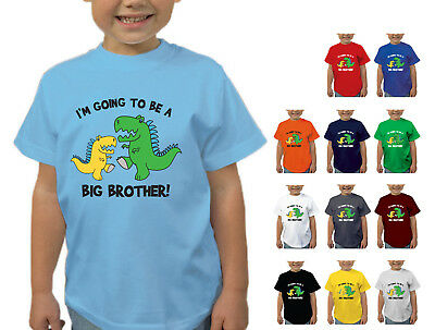 Boys I'm Going To Be A Big Brother Dinosaur T-shirt Childens T Shirt Shower • 9.25£