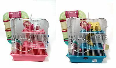 Wundapets M012b Small Dwarf Hamster Mouse 2 Level Cage Pink  Blue Wheel Tubes Y3 • 23.99£