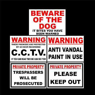 Private / CCTV / Trespassers / Beware Dog / Anti Vandal Sticker Choice Of Sizes • 1.29£