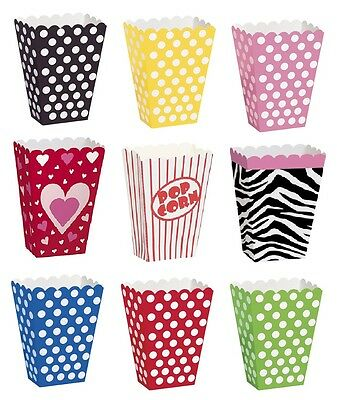 8 Popcorn TREAT BOXES Polka Dots Spots - Birthday Party Favour Loot Paper Bags • 1.89£