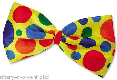 £6.99 • Buy Ladies Mens Extra Large Multi Coloured Spotty Bow Tie Clown Fancy Dress Costume