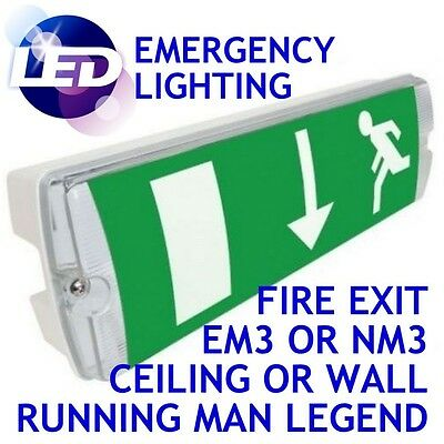 £13.95 • Buy 3 Hours Non Maintained LED Emergency Bulkhead Fire Exit Light Fitting IP65 Lamp