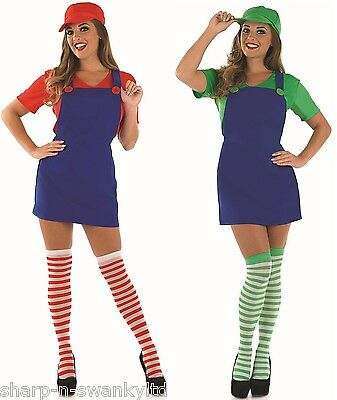 AU81.08 • Buy Couples Ladies Mario AND Luigi Plumber 1980s 1990s Fancy Dress Costumes Outfits