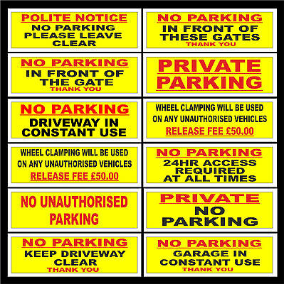 £1.07 • Buy No Parking / Gates / Garage / Wheel Clamp / Keep Driveway Clear Sign Or Sticker