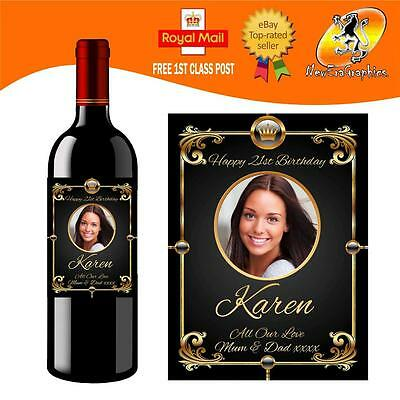 £3 • Buy Personalised  Photo Wine Bottle Label Birthday Any Occasion Gift