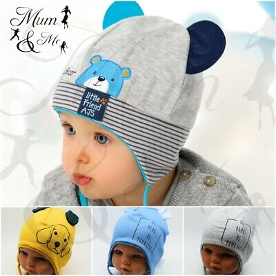 NEW Kids Baby Boys Hat Toddler Cap Stretchy Cotton Spring Beanie Lace Up Striped • 5.69£