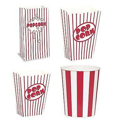 POPCORN Boxes/Buckets/Bags (Red Stripes)(Party/Food/Retro/Hollywood/Movie/Treat) • 1.95£