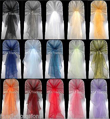 £49.99 • Buy Organza Chair Hoods, Cover Wrap Bow Sashes 40+ Colours Wedding Party Uk Seller
