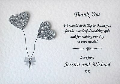 £4.50 • Buy 10 Handmade Personalised Wedding Thank You Cards With Envelopes & Free P+P