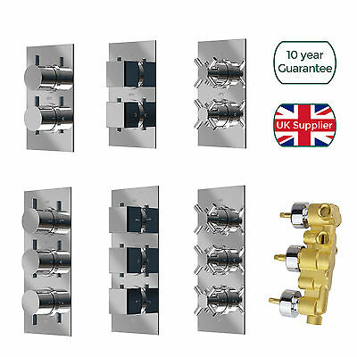 £89.99 • Buy Concealed Thermostatic Shower Mixer Valve 1 / 2 / 3 Way Outlet Chrome Brass