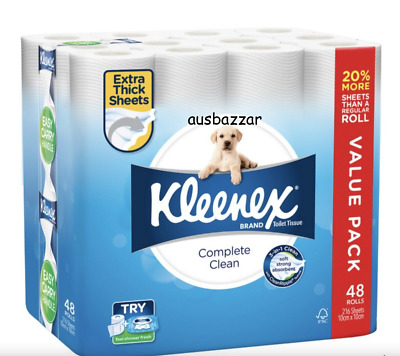 AU34.88 • Buy KLEENEX TOILET PAPER TISSUE ROLLS SOFT SANITARY 216 SHEETS 10 X 10 Cm 48/96/144