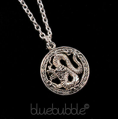 Funky Chinese Dragon Necklace Good Luck Cool Emo Biker Goth Rock Fantasy Cosplay • 2.99£