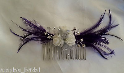 £8.25 • Buy Cadbury Purple Feathers Rose Flower Hair Comb Bride Bridesmaids