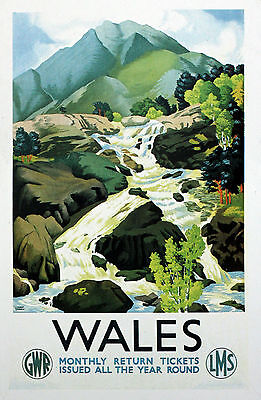 £3.99 • Buy Wales   Vintage GWR/LMS Railway Poster Various Sizes