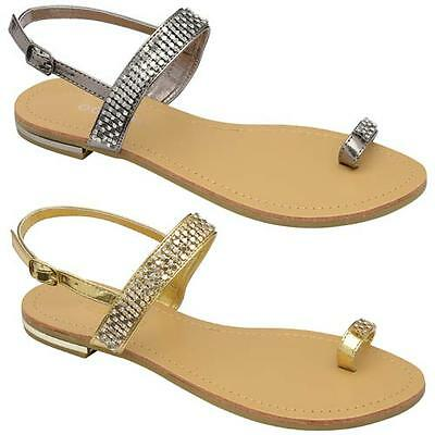 Womens Ladies Sandals Diamante Summer Fancy Flat Heel Party Wedding Shoes Size • 6.95£