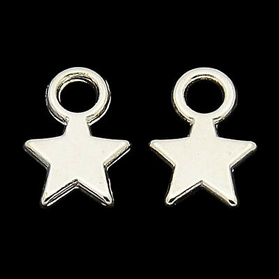 ❤ 50 X BRIGHT Silver Plated STAR Charms Findings 11mm Jewellery Making ❤ • 0.99£