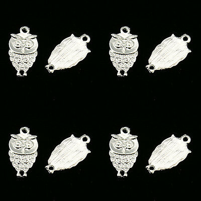 ❤ 10 X SILVER Plated OWL Charm Finding 18mm Jewellery Making ❤ • 0.99£