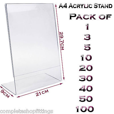 New A4 Acrylic Portrait Poster Menu Holder Perspex Leaflet Display Stands  • 6.99£