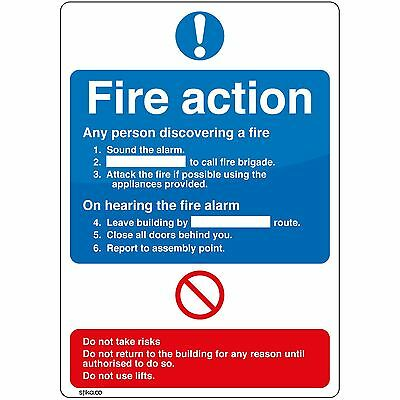 6 Pack Fire Action Standard A5 Sign Self-adhesive Vinyl Safety Sticker Stika.co • 9.99£