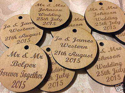 Personalised Engraved Wooden Tags 4cm Table Decorations Wedding Favours Or Party • 3.95£