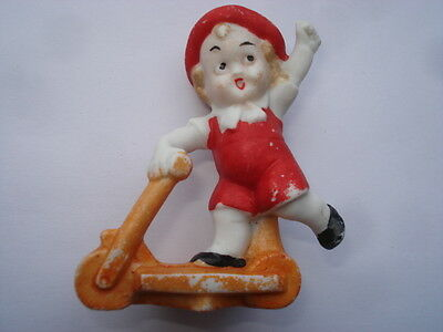 C1920s Vintage Little Boy Riding A Scooter Bisque Birthday Cake Decoration • 39.99£