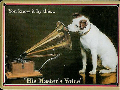 HMV Nipper Metal Postcard / Mini Sign 110mm X 80mm (hi) • 5.99£