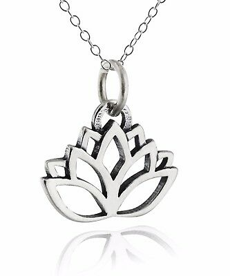 $ CDN32.89 • Buy Lotus Flower Necklace - 925 Sterling Silver - Outline Charm Namaste Yoga NEW