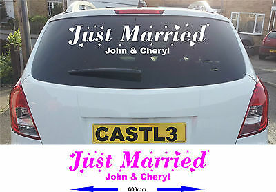 Wedding Just Married Sticker Banner For Car Window. Many Colours Available • 3.79£