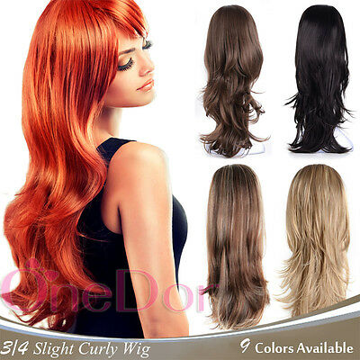 $21.99 • Buy OneDor 22  Slight Wavy 3/4 Head Japanese Synthetic Kanekalon Hair Wig With Combs