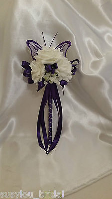 £9.75 • Buy Wedding Flowers Bridesmaids Wands Cadbury Purple Ivory Gypsophilia Butterfly