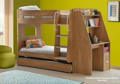 Olympic Bunk Beds With Large Desk And Trundle Guest Bed - White Or Oak Finish • 489£