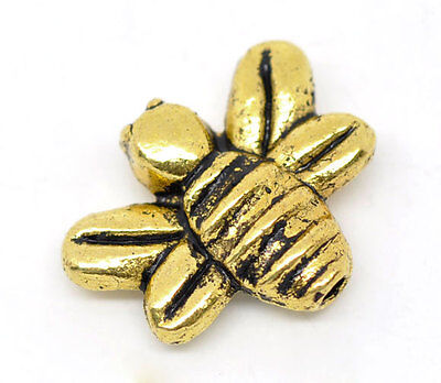 £2.75 • Buy 25 GOLD TONE HONEY/BUMBLE BEE CHARMS/SPACER BEADS ~14x12mm~Jewellery~Jams (10B)