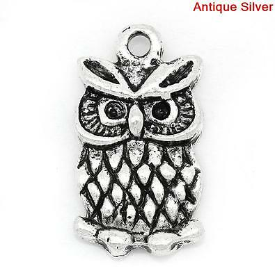 10 ANTIQUE SILVER OWL/BIRD CHARMS/PENDANTS~can Hold Ss4 Stones~Teacher (52C) UK • 1.25£