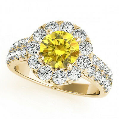 1.50 Carat Yellow Canary Diamond Solitaire Halo Bridal Promise Ring 14k Gold • 897.78£