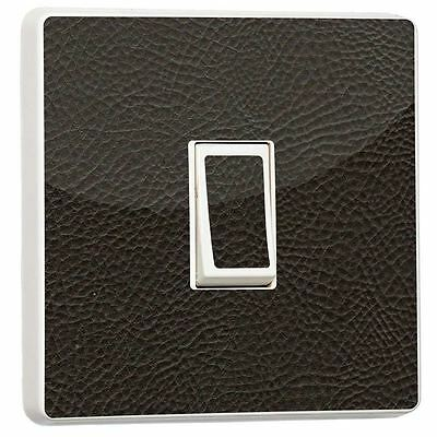 Brown Leather Light Switch Sticker Vinyl Generic Single Cover Skin By Stika.co • 2.29£