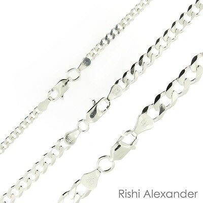 $4.99 • Buy 925 Sterling Silver Curb Cuban Mens Womens Chain Necklace .925 Italy All Sizes